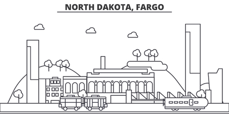 North Dakota, Fargo architecture line skyline illustration.