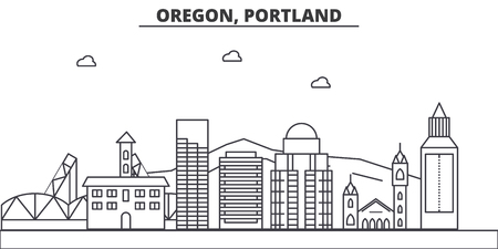 Oregon, Portland architecture line skyline illustration.