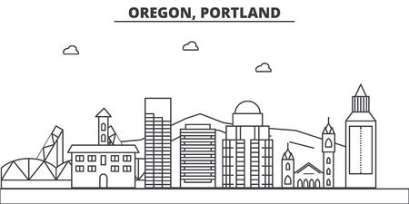 Oregon, Portland architecture line skyline illustration.