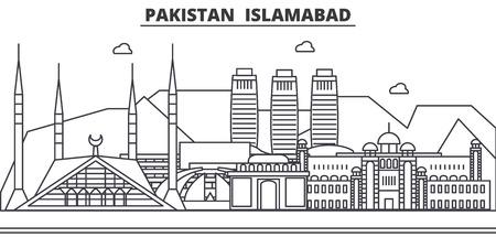 パキスタン、イスラマバード建築線スカイラインの図。  イラスト・ベクター素材