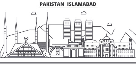A Pakistan, Islamabad architecture line skyline illustration.