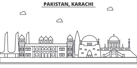 A Pakistan, Karachi architecture line skyline illustration. Иллюстрация