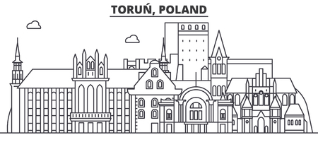 Poland, Torun architecture line skyline illustration.