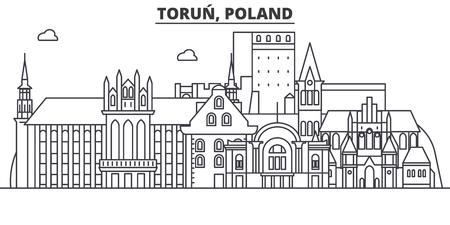 Poland, Torun architecture line skyline illustration.