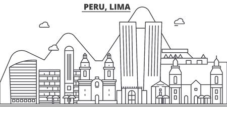 Peru, Lima architecture line skyline illustration.
