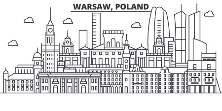 Poland, Warsaw architecture line skyline illustration. Stock Vector - 87748600
