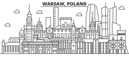 Polen, Warschau architectuur lijn skyline illustratie.