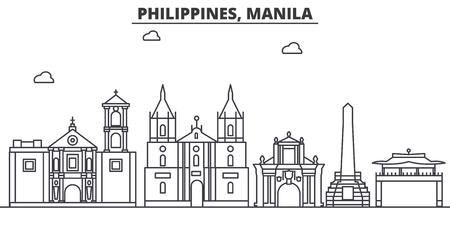 필리핀, 마닐라 아키텍처 라인 스카이 라인 그림입니다.