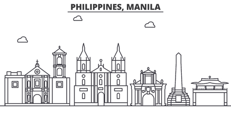 Philippines, Manila architecture line skyline illustration. Illustration