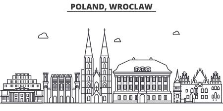 Poland, Wroclaw architecture line skyline illustration.