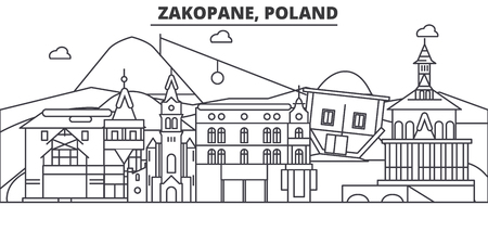 Poland, Zakopane architecture line skyline illustration.