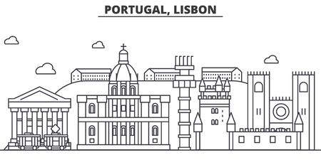 Portugal, Lisbon architecture line skyline illustration.