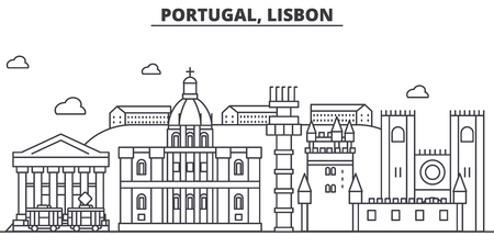 Portugal, Lisbon architecture line skyline illustration.