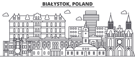 Poland, Bialystok architecture line skyline illustration. Ilustrace