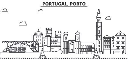 Portugal, Oporto arquitectura línea horizonte ilustración. Ilustración de vector