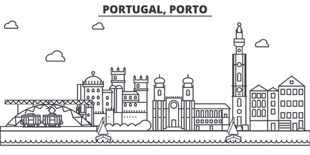 Portugal, Porto architecture line skyline illustration.