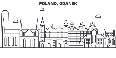 Poland, Gdansk architecture line skyline illustration.