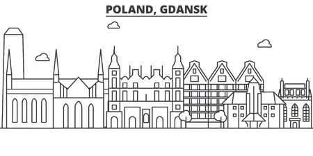 Poland, Gdansk architecture line skyline illustration.