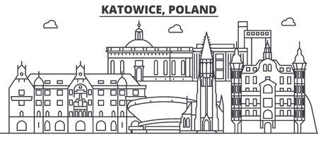 Poland, Katowice architecture line skyline illustration.