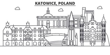 Poland, Katowice architecture line skyline illustration.