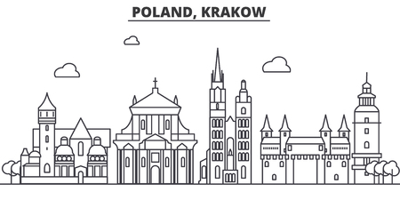 Poland, Krakow architecture line skyline illustration.