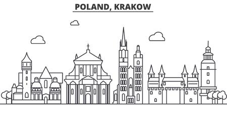Poland, Krakow architecture line skyline illustration.
