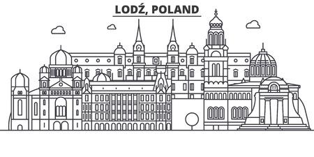 Poland, Lodz architecture line skyline illustration.
