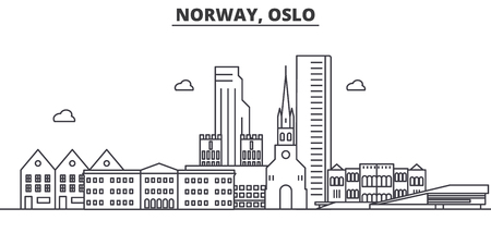 Norway, Oslo architecture line skyline illustration. Фото со стока - 87748860