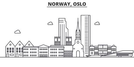 Norway, Oslo architecture line skyline illustration.