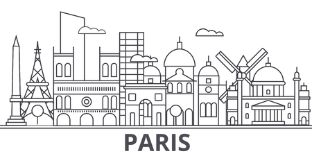 Paris architecture line skyline illustration.