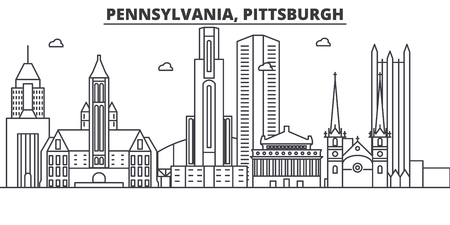 Pennsylvania, Pittsburgh architecture line skyline illustration. Иллюстрация