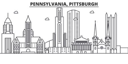 Pennsylvania, Pittsburgh architecture line skyline illustration. Illustration