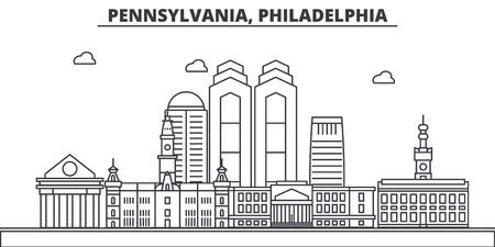 ペンシルベニア州フィラデルフィアの建築線スカイラインの図。
