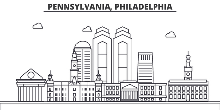 Pennsylvania, Philadelphia architecture line skyline illustration. Çizim