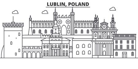 Poland, Lublin architecture line skyline illustration. Illustration