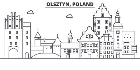 Poland, Olsztyn architecture line skyline illustration. Иллюстрация