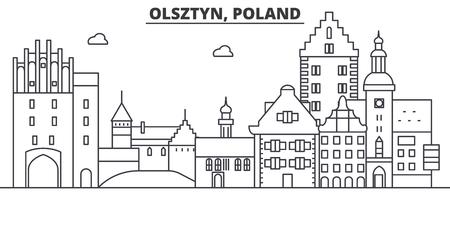Poland, Olsztyn architecture line skyline illustration. Illustration