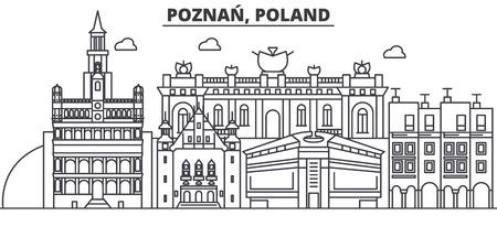 ポーランド、ポズナン建築線スカイラインの図。  イラスト・ベクター素材