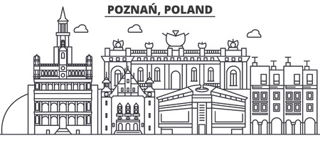 Poland, Poznan architecture line skyline illustration.