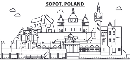 Poland, Sopot architecture line skyline illustration.