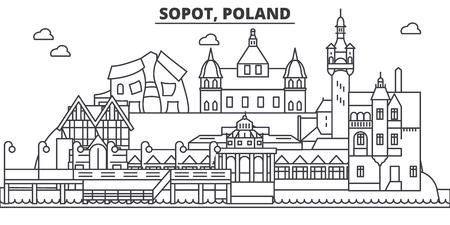 Poland, Sopot architecture line skyline illustration.