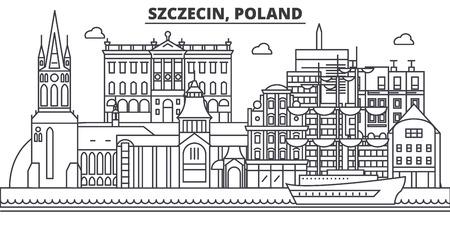 Poland, Szczecin architecture line skyline illustration.