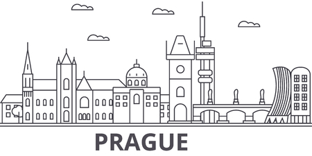Prague architecture line skyline illustration.