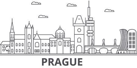 Prague architecture line skyline illustration.