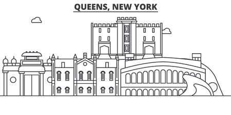 クイーンズ、ニューヨーク建築線スカイラインの図。  イラスト・ベクター素材