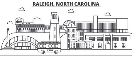 Raleigh, North Carolina architecture line skyline illustration. 向量圖像