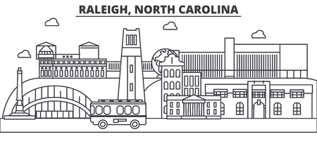 Raleigh, North Carolina architecture line skyline illustration. Illustration