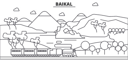 Russia, Baikal architecture line skyline illustration.