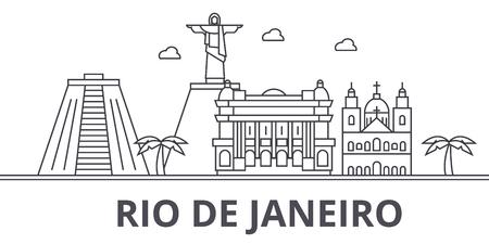 Rio De Janeiro architecture line skyline illustration.