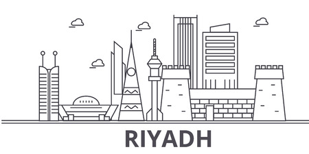 Riyadh architecture line skyline illustration.